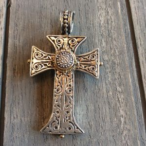 💯 authentic Konstantino Cross sterling&18k gold